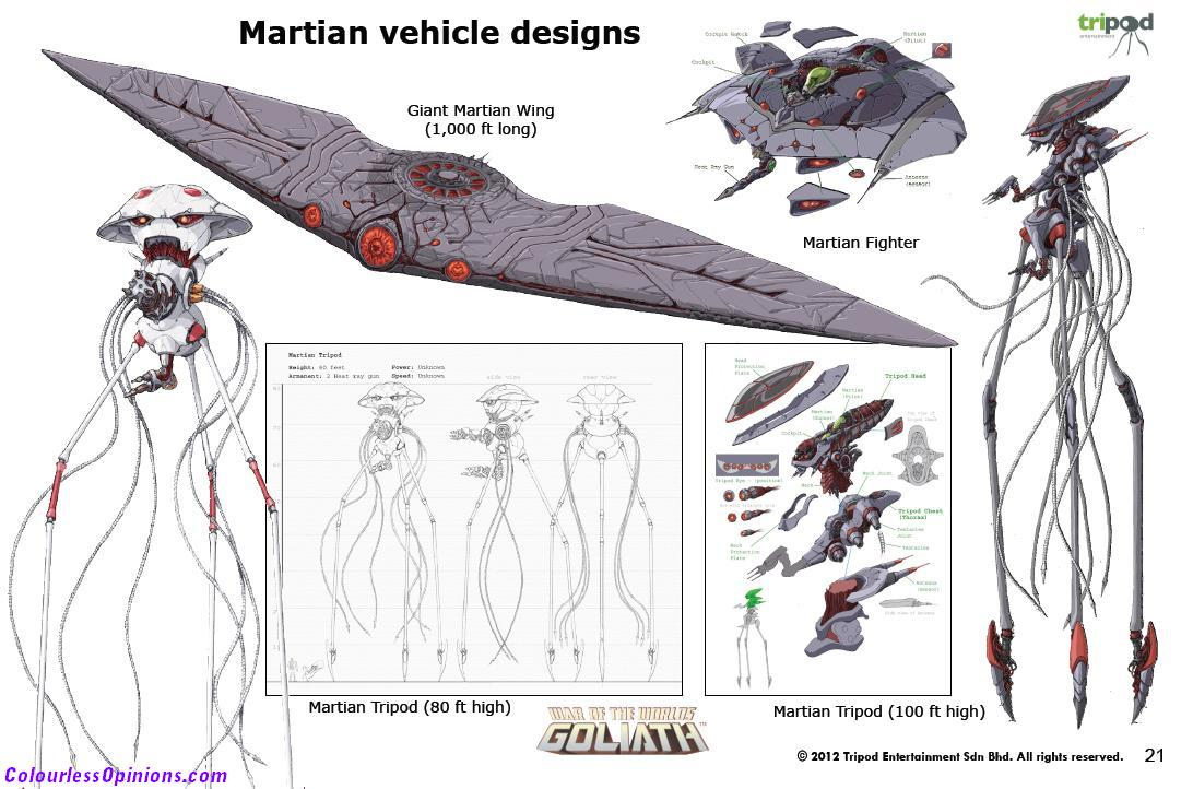 War of the worlds goliath martian vehicle designs alien tripod concept