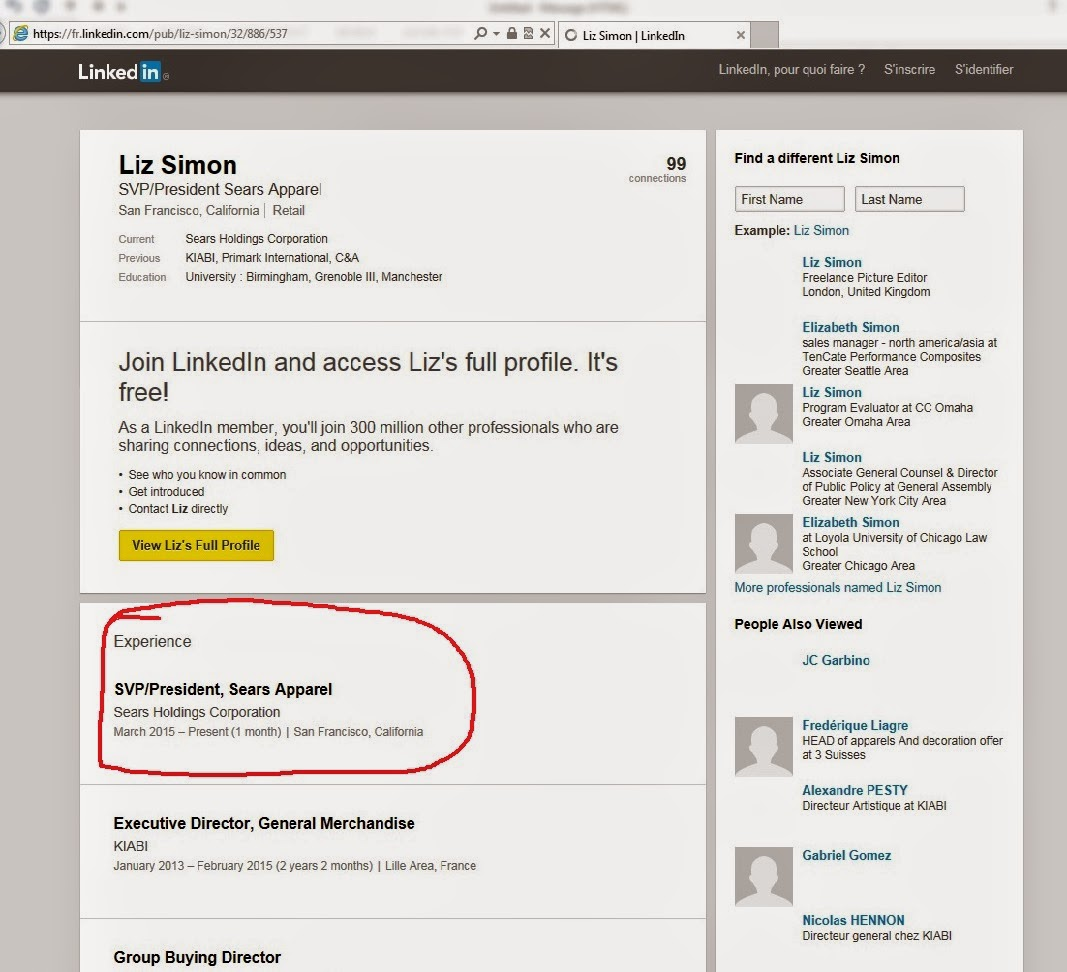 Liz Simon LinkedIn March 2015