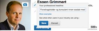 Endre headline LinkedIn Espen Grimmert
