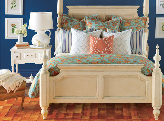 Turquoise blue and tangerine orange floral bedding sets sheet envy - Blue and orange bedding sets ...