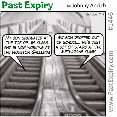This a cartoon about Escalator Envy. Under category of  unemployed, shopping, kids,  and, tranportation