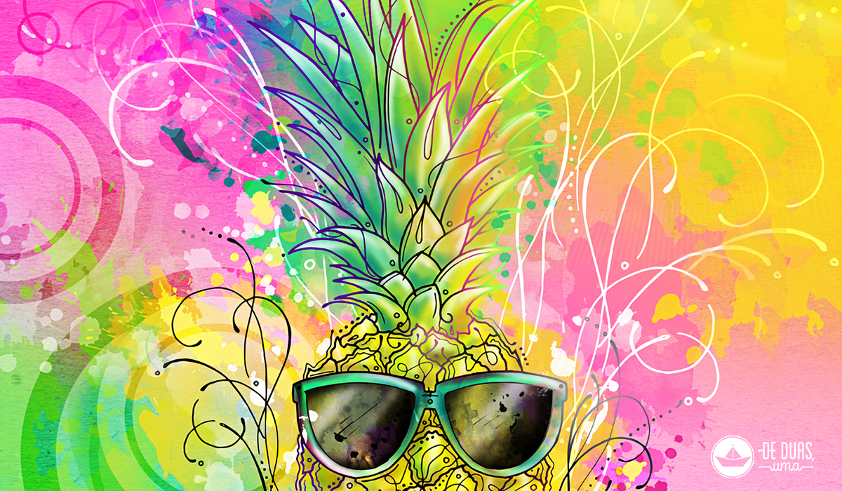 illustration pineapple with sunglasses deduasuma