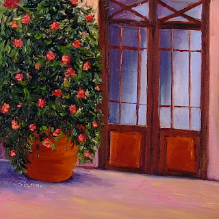 Italian Oil Painting of a country home with full double doors.