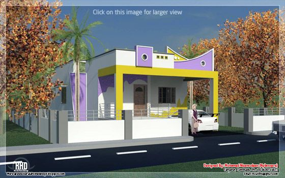 3 bedroom south india style minimalist tamilnadu house for Tamilnadu house models
