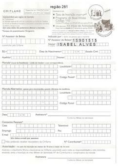 Ficha de inscrição em PDF