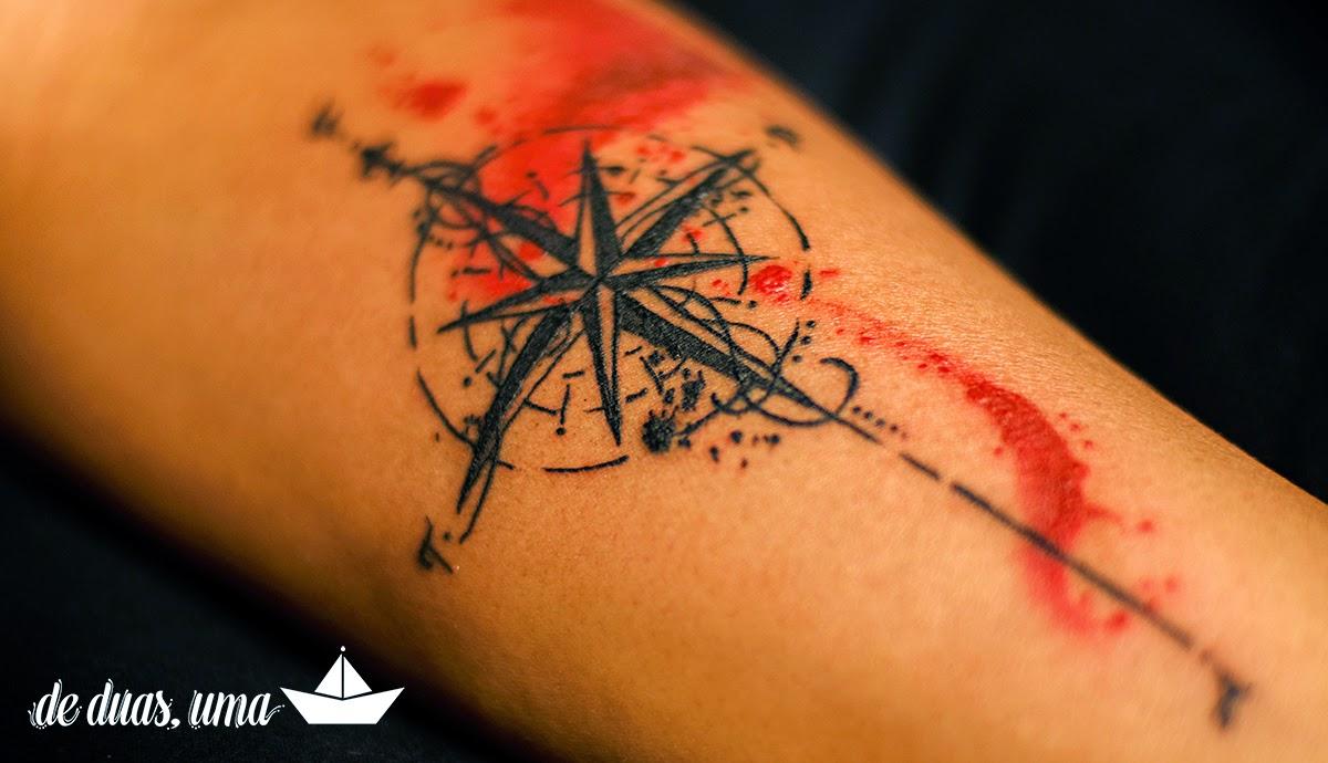 rosa dos ventos tattoo aquarela deduasuma
