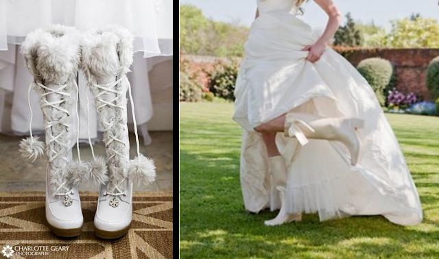 Botas altas para bodas de invierno