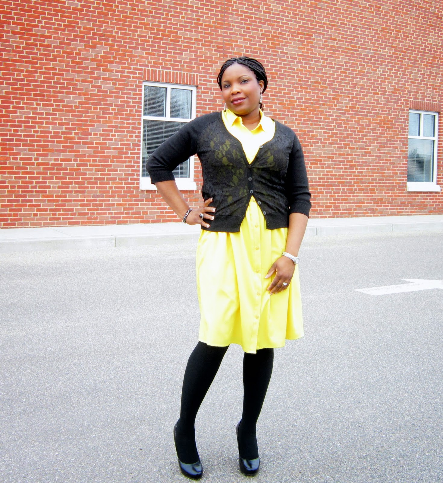 Layered shirt dress, what to wear with yellow, yellow and black