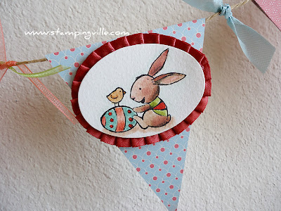 Bunny Scene Framed by Pleated Satin Ribbon