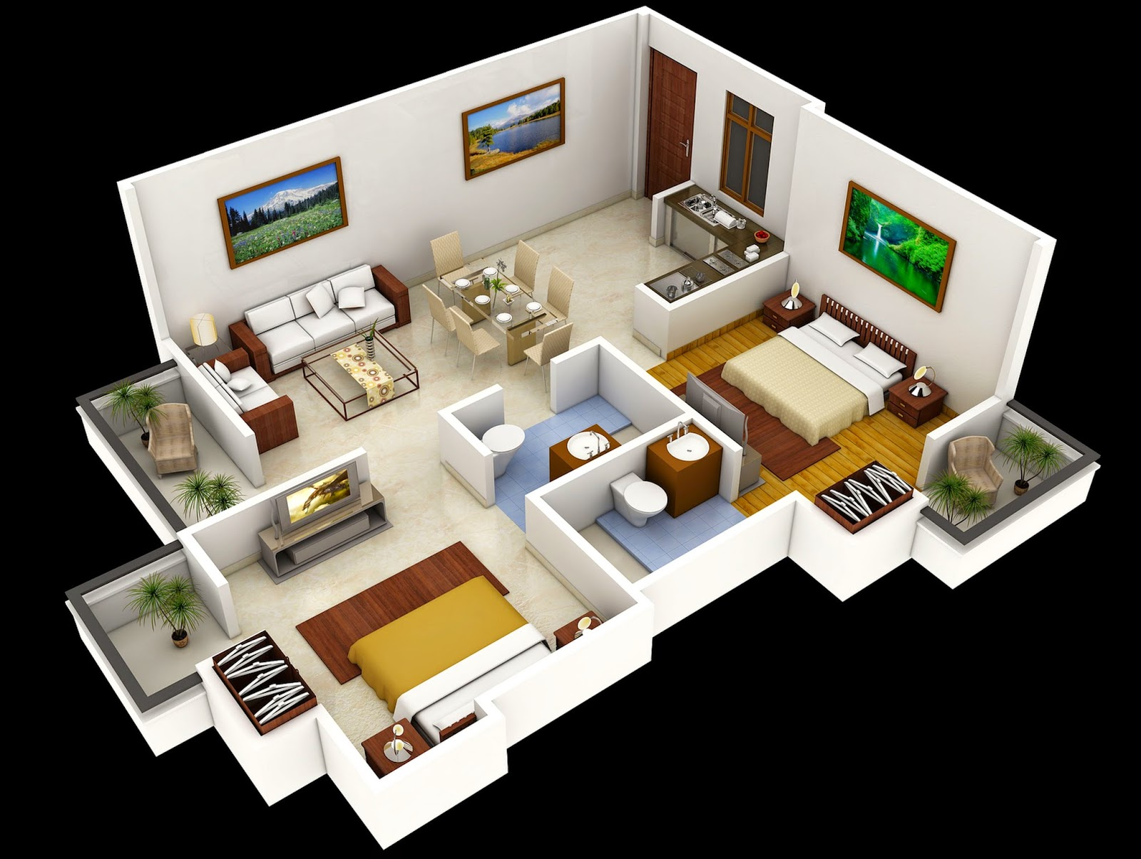 Two bedroom house interior design for 2 bedroom layout design