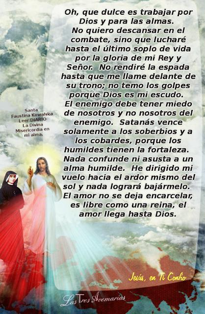 escristo de santa faustina referente a tbajar por dios