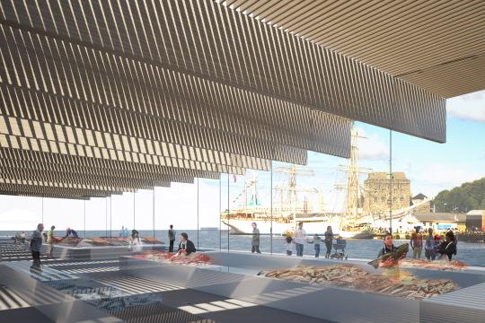 Unbuilts architectural competition fish market bergen for Fish market design ideas