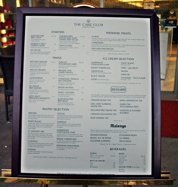 The Cake Club at Bonifacio High Street Central Menu