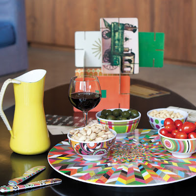 colorful melamine Lazy Susan, in use