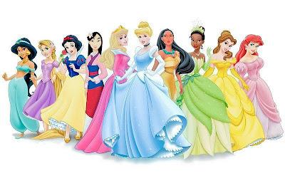 Desenho das princesas da Disney colorido