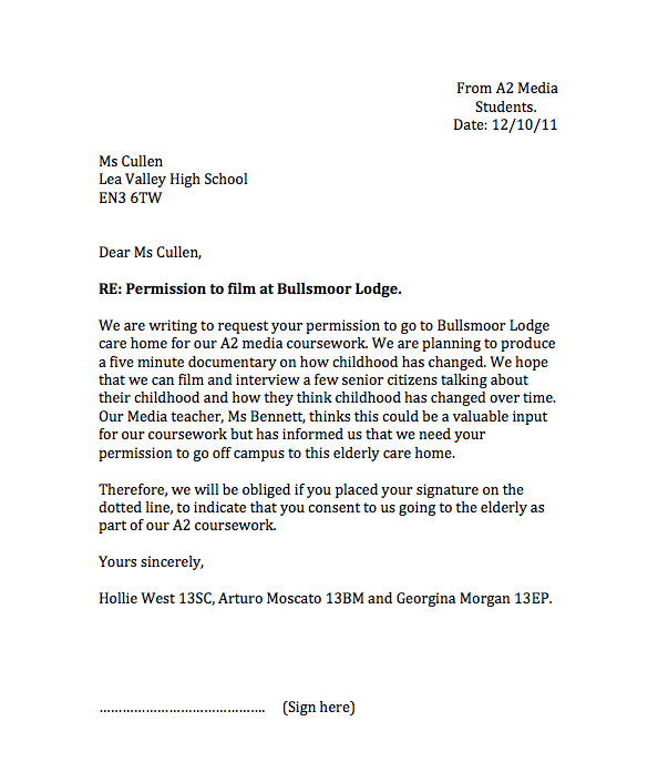 A2 Student Blog 2011 2012 Group 1 Permission Letter