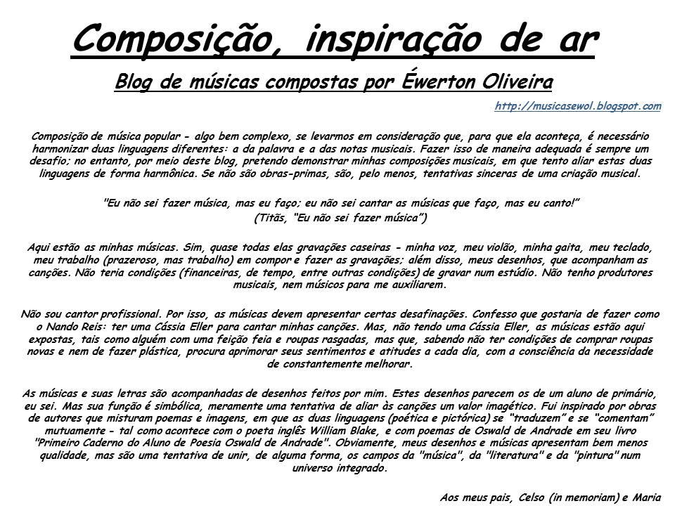 Composição, inspiração de ar (Éwerton Oliveira)