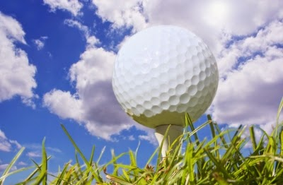 Golf tee with sky background