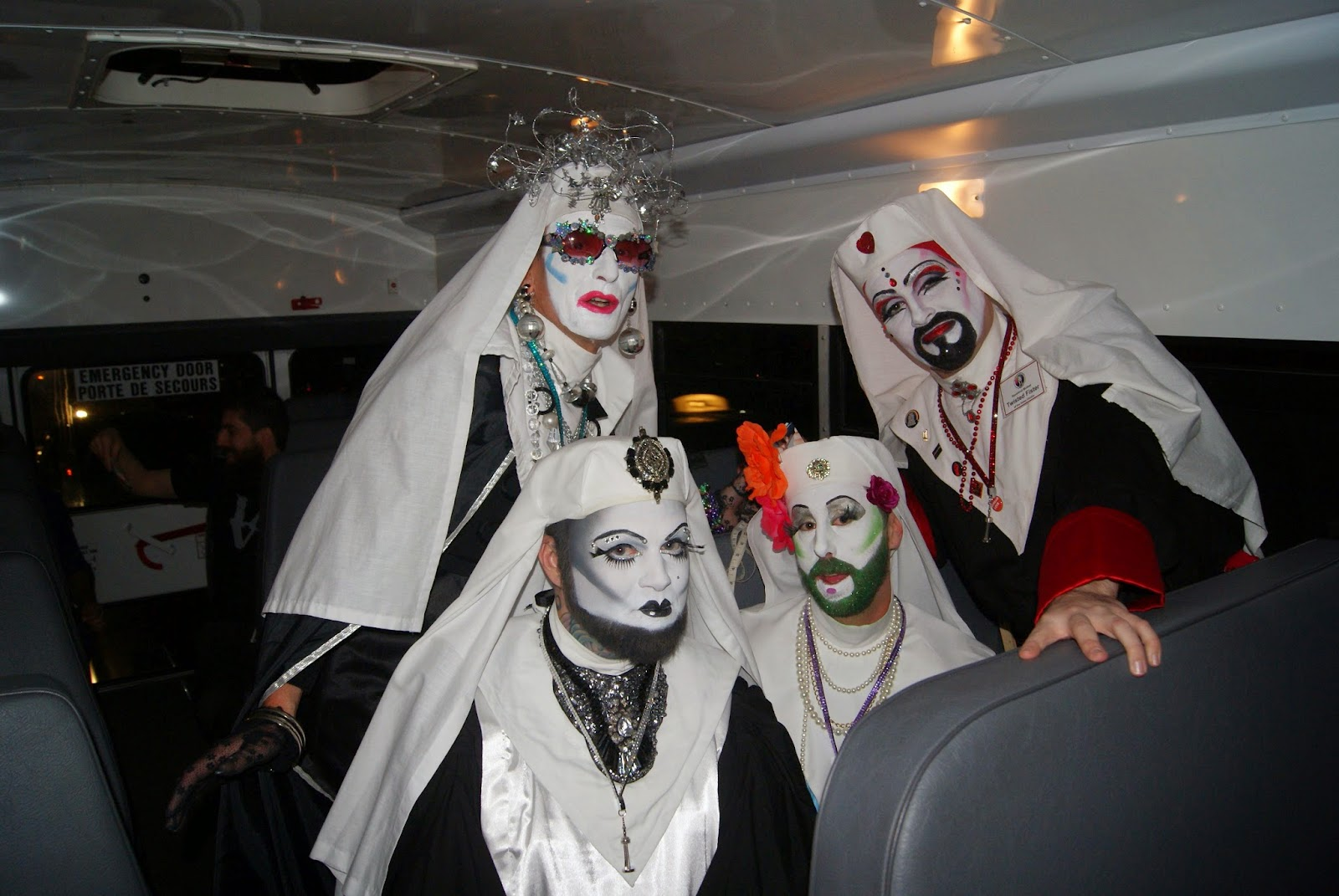 Nuit Rose Art Event: Bus ride, The Sisters of Perpetual Indulgence,Expert Nailz, Humboldt Magnussen, World Pride, Toronto, Melanie_Ps, The Purple Scarf, Ontario, Canada, culture, art, event,lifestyle, gay, lesbian, artmatters, LGBT, performance, nuns, dragqueens