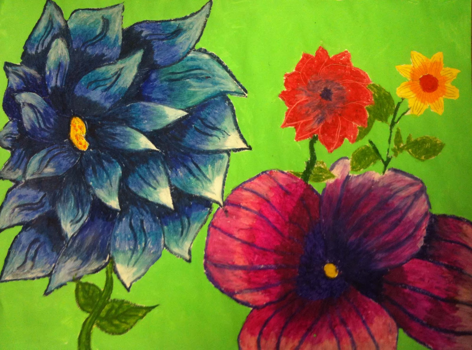 The Helpful Art Teacher A garden of flowers blending colors using oil pastels
