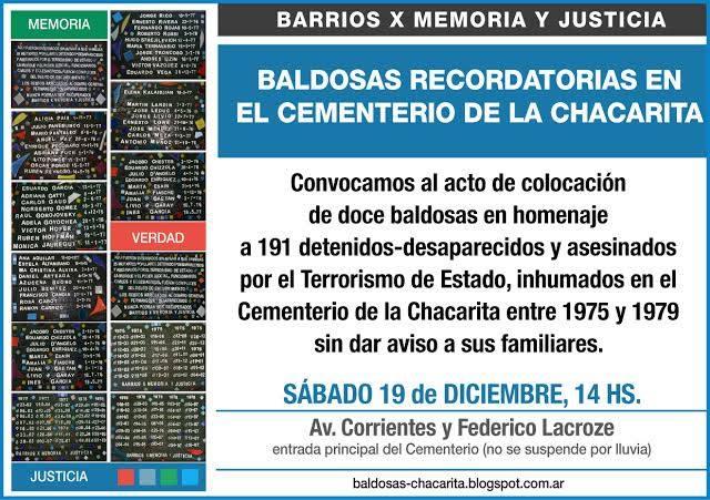 DESAPARECIDOS ENTERRADOS EN EL OSARIO COMUN DE CHACARITA PRESENTES!