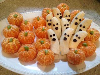 pumpkins, banana ghosts