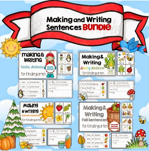 Making and Writing Sentences Winter, Spring, Summer and Fall BUNDLE