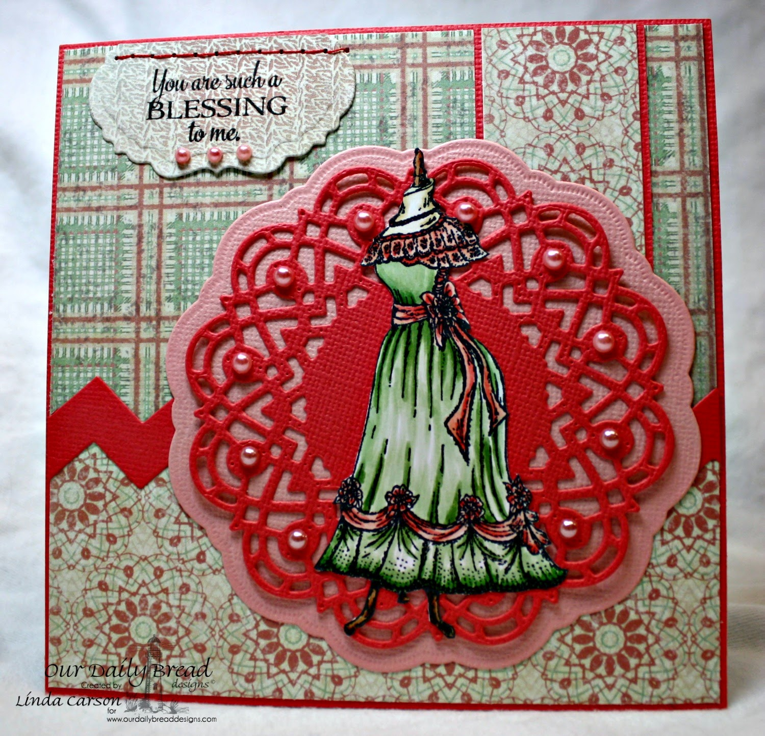 Doily Blessings, Elizabeth, Doily die, Vintage Labels die, Soulful Stitches, designer Linda Carson