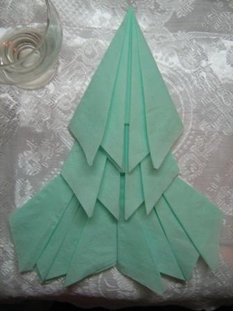Салфетка оригами елочка