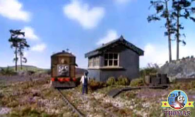 Thomas and friends Toby and Henrietta the passenger coach by a remote lonely signal box wooden hut