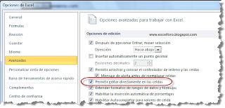 Permitir editar directamente en las celdas de Excel.