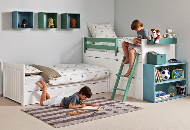 Dormitorios infantiles para ni as ni os de 0 1 2 3 4 y 5 a os - Habitaciones de dos camas juveniles ...