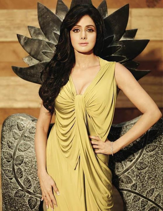 Sridevi in a yellow dress  - Sridevi PHOTOSHOOT HOT PICS