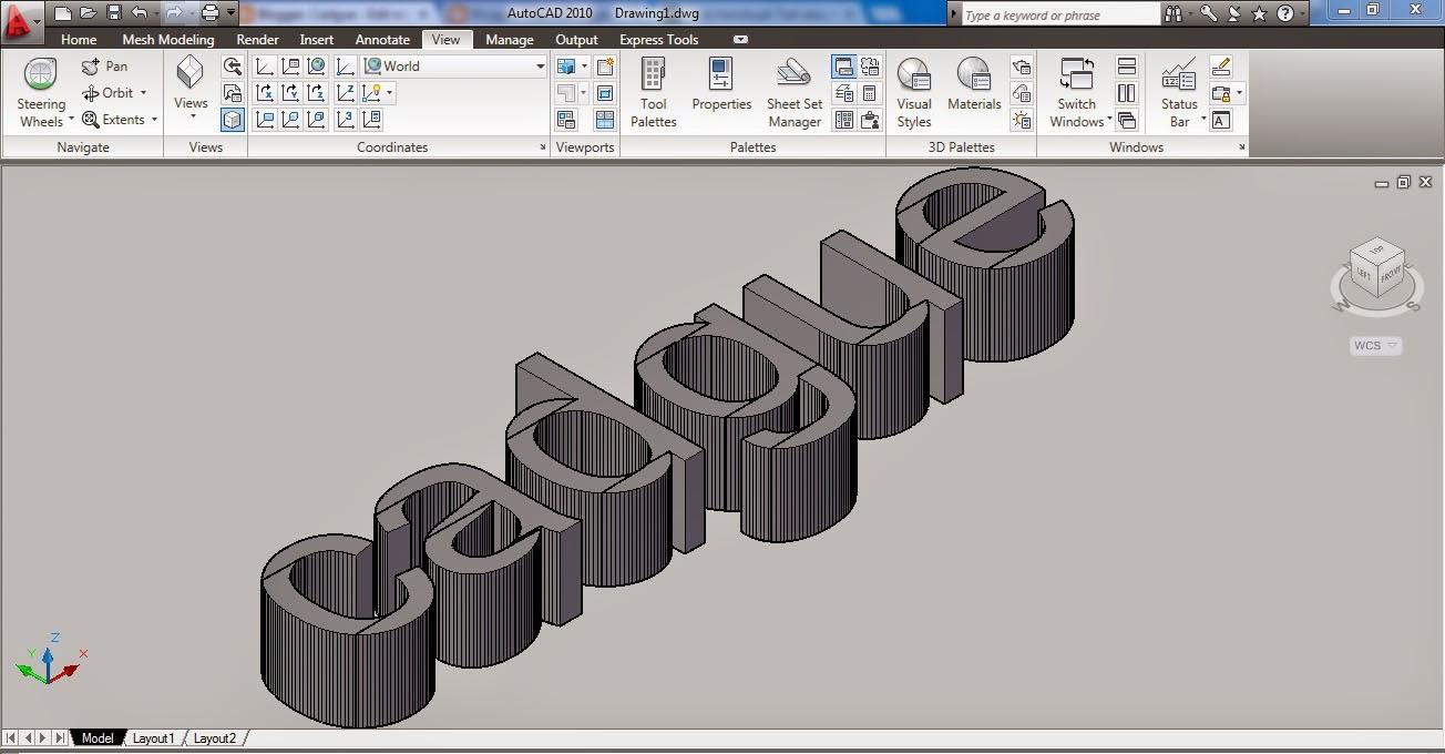 Tutorial membuat text 3D pada autocad