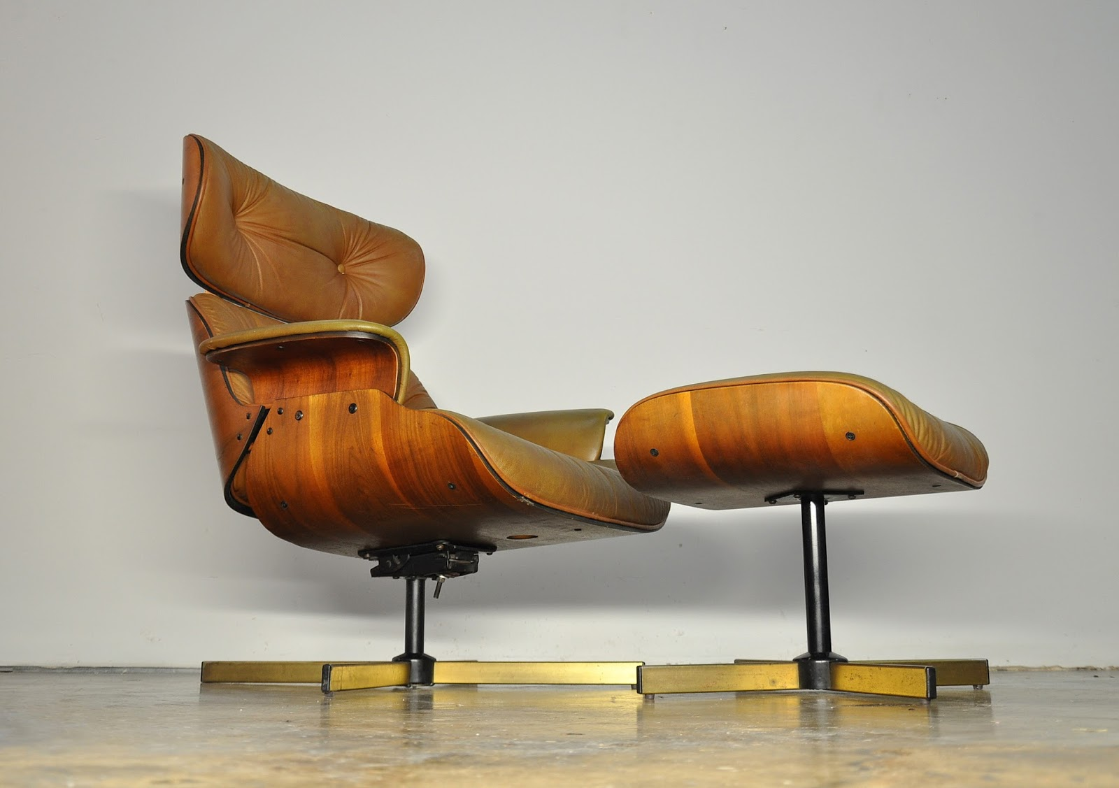 Selig chair and ottoman - Select Modern Frank Doerner Eames Style Leather Lounge Chair Ottoman