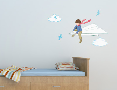 Belle & Boo | Wall Sticker Decals | My Paper Plane. Shown on a bedroom wall.