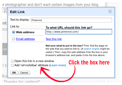 """Where to find the """"no follow"""" attribute in Blogger"""
