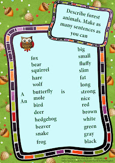 forest animals worksheet make sentences describing the animals