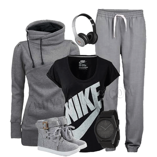 Loose Leisure Slim Long Hoodie,  Loose Leisure Pure Color Hooded Tracksuit Gray, Round Toe Lace Up Metal Decorated Buckle Shoes