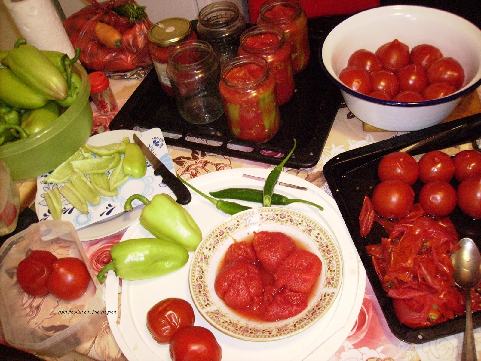 Tomate şi ardei. Tomatoes & peppers. Tomate şi ardei/ Peeled tomatoes, chopped bell peppers/chili peppers...
