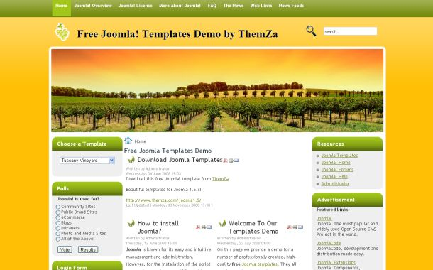Free Joomla 1.5 Green Brown Nature Theme Template