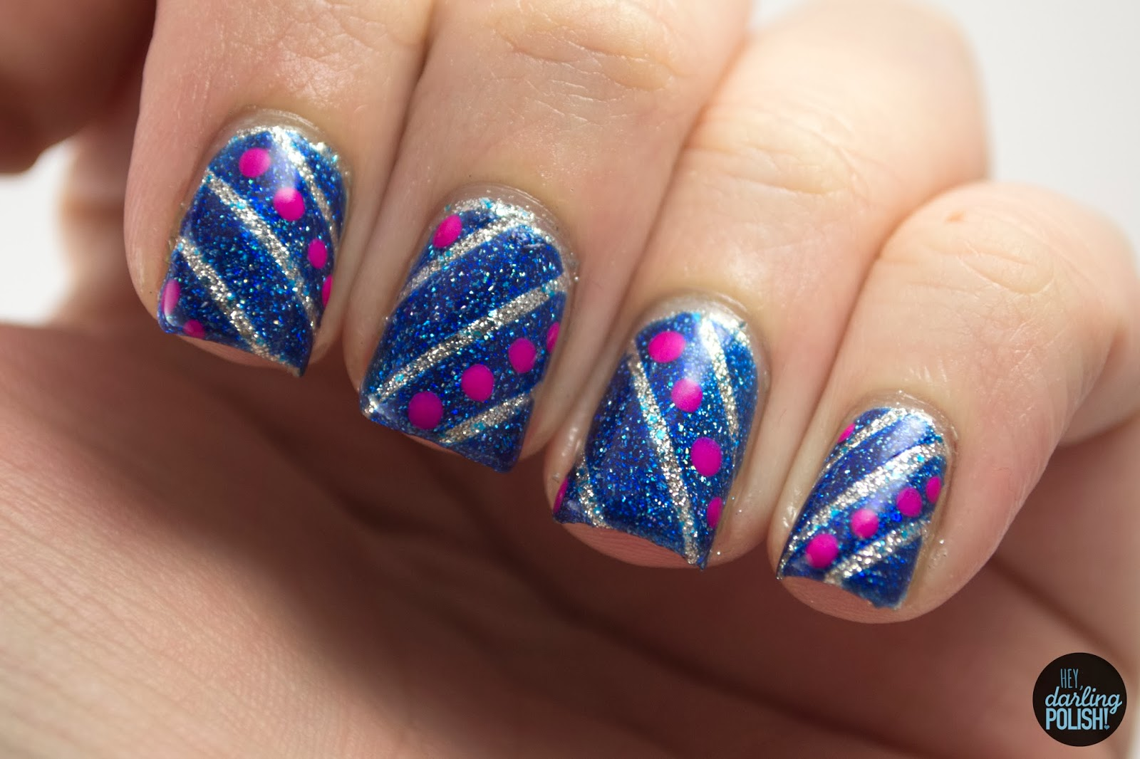 nails, nail art, nail polish, polish, stripes, dots, blue, silver, pink, theme buffet, hey darling polish