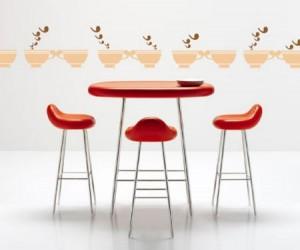 tiendas que apuestan por taburetes de tamao medio con asientos algo ovalados y que sin que ocupen mucho espacio sean sencillos y fciles de limpiar