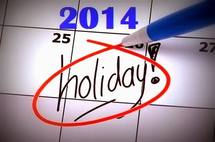 2014 Public & School Holiday Calendar
