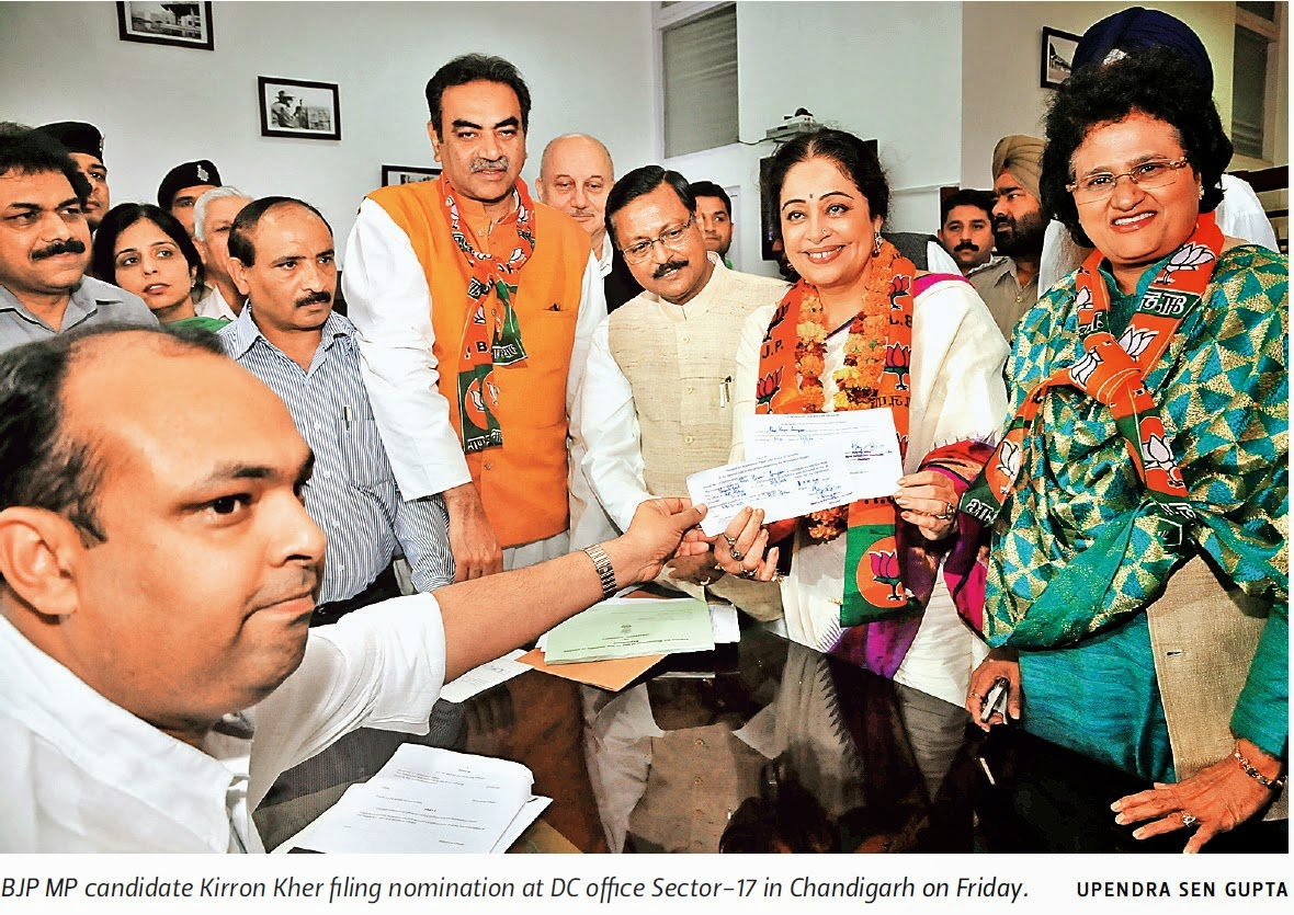 BJP MP candidate Kirron Kher filing nomination at DC office Sector 17 in Chandigarh, alognwith Satya Pal Jain & other BJP leaders