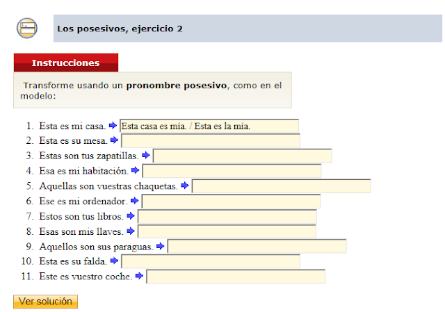 http://www.auladiez.com/ejercicios/posesivos.html#pronombres