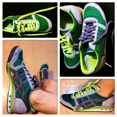 Green and gray Unitsuka Tiger sneakers from Zappos.com