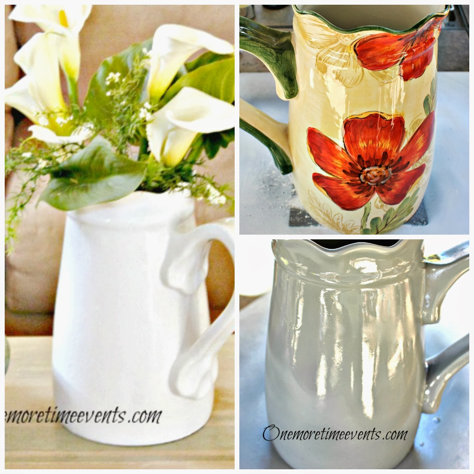 How to paint ceramic Large pitcher painted white at One More Time Events.com