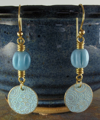 Libellula Jewelry:  Light blue patina etched brass earrings