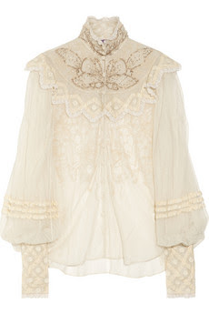 Silk-tulle Blouse with Ornate Therese